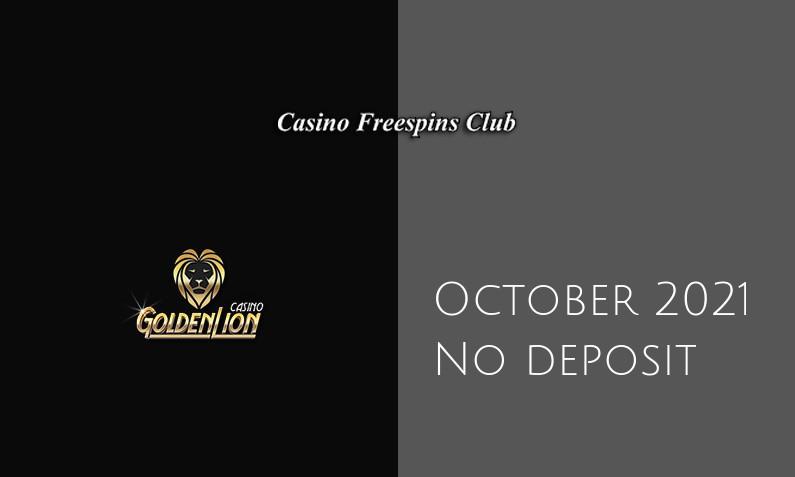 Latest no deposit bonus from Golden Lion Casino October 2021