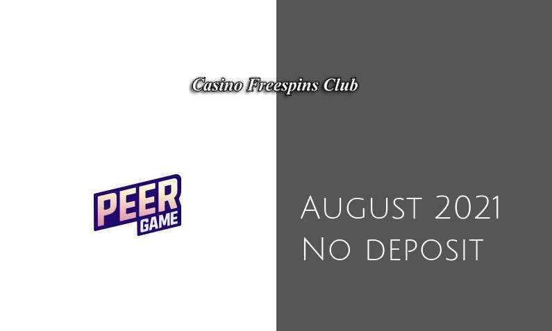 Latest PeerGame no deposit bonus 2nd of August 2021